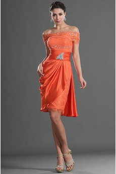 Schmuck dekorativ Mieder Gekappte Ärmel Rechteck A-Linie Orange Rot Cocktailkleid