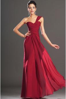 Ein Schulter Chiffon Elegant Rubin Dünn Natürliche Taille Abendkleid