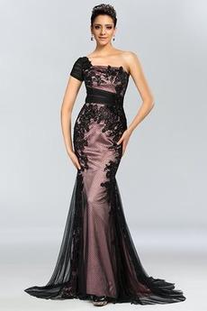 Spitzen-Overlay Natürliche Taille Elegant Asymmetrische Ärmel Abendkleid
