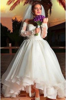 Brautkleid Halle Gericht Schleppe Asymmetrisch Natürliche Taille