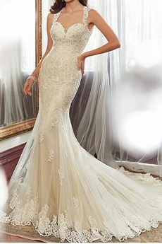 Ärmellos Herz-Ausschnitt Mitte Rücken Meerjungfrau Brautkleid
