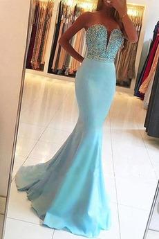 Natürliche Taille Ärmellos Sexy Meerjungfrau Herz-Ausschnitt Lange Abendkleid