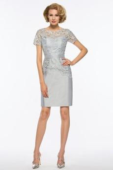 Spitzen-Overlay Mittelgröße edel Knielang Reißverschluss Brautmutterkleid