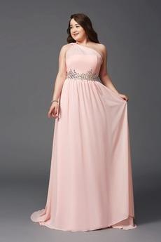 A-Linie Perlengürtel Lange Luxus Sommer Chiffon Abendkleid