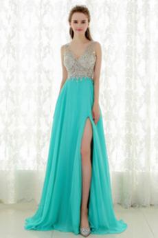 Formell Natürliche Taille V-Ausschnitt Mittelgröße Sommer Abendkleid