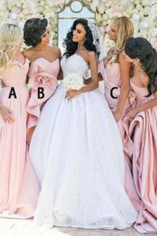 Herz-Ausschnitt Rücken Schnürung Falte Mieder Formell A-Linie Brautjungfernkleid