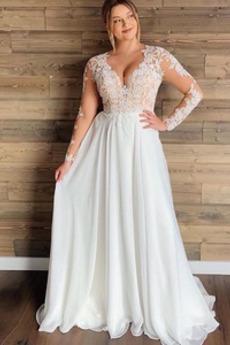 Brautkleid Übergröße Bodenlang Durchsichtige Ärmel Durchsichtige Rücken