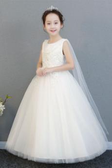 Reißverschluss Glamouröse Ärmellos Knöchellang Juwel Frühling Blumenmädchenkleid