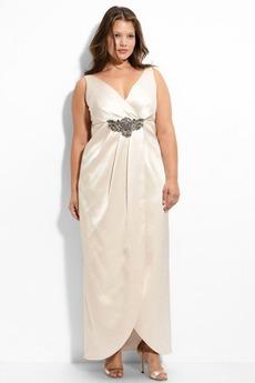 Konservativ Übergröße V-Ausschnitt Taft Herbst Mitte Rücken Abendkleid