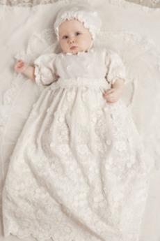 Mittelgröße Ballon Ärmel Halbe Ärmel Spitze Natürliche Taille Taufe Kleid