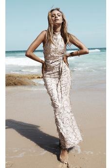 Hoch Überdachte Knöchellang Etui Natürliche Taille Pailletten-Kleid