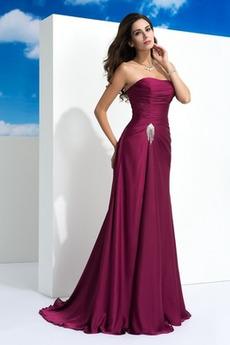 Elegant Ärmellos Rückenfrei Mittelgröße Trägerlos Lange Abendkleid