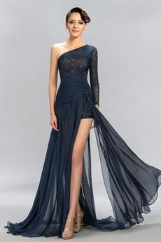 Lange Ärmel Lange Oberschenkel-Hoch Geschlitzt Mitte Rücken Abendkleid