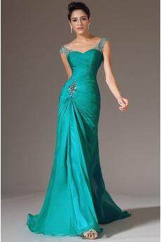 Mitte Rücken Schlicht Kurze Ärmel Natürliche Taille Plissiert Abendkleid