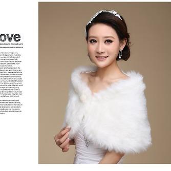 Glamouröse Weiß Knopf Winter Dicke Ärmellos Hochzeit Schal - Seite 2
