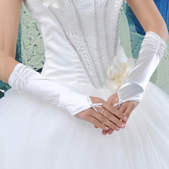 Halle Taft Romantisch Dicke Gerüscht Lange Hochzeit Handschuhe - Seite 1