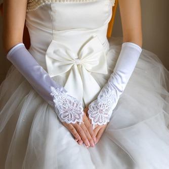 Fingerlose Bördeln Lange Weiß Vintage Elastischer Satin Hochzeit Handschuhe - Seite 1