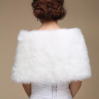 Glamouröse Weiß Knopf Winter Dicke Ärmellos Hochzeit Schal - Seite 3