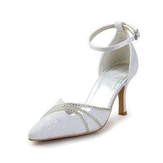 Weiße Spitze Hochzeitsschuhe Hochzeitsschuhe mit Strasssteinen Frauen Stiletto Strass Brautjungfernschuhe - Seite 1