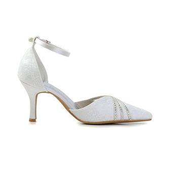 Weiße Spitze Hochzeitsschuhe Hochzeitsschuhe mit Strasssteinen Frauen Stiletto Strass Brautjungfernschuhe - Seite 2