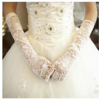 Schwarz Transluzent Spitze Spitze Formell Volle finger Hochzeit Handschuhe - Seite 1
