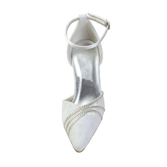 Weiße Spitze Hochzeitsschuhe Hochzeitsschuhe mit Strasssteinen Frauen Stiletto Strass Brautjungfernschuhe - Seite 5