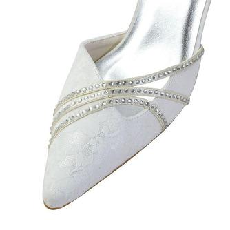 Weiße Spitze Hochzeitsschuhe Hochzeitsschuhe mit Strasssteinen Frauen Stiletto Strass Brautjungfernschuhe - Seite 3