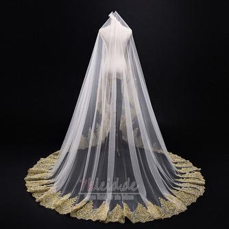 3M goldener Spitze-Schleier-Kathedralen-Hochzeits-Schleier-Brautschleier-Hochzeits-Zusätze - Seite 1