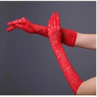 Schwarz Transluzent Spitze Spitze Formell Volle finger Hochzeit Handschuhe - Seite 3