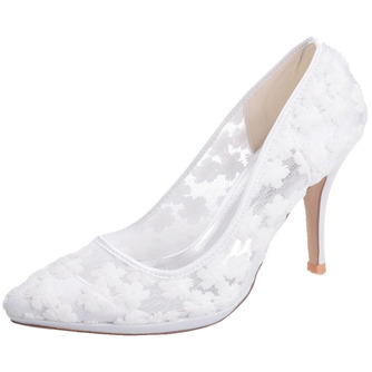 Frühlingsspitzeflacher Mund zeigte einzelne Schuhe gestickte weiße Hochzeitsschuhe der Blumenhohen absätze - Seite 2