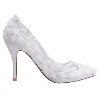 Frühlingsspitzeflacher Mund zeigte einzelne Schuhe gestickte weiße Hochzeitsschuhe der Blumenhohen absätze - Seite 1