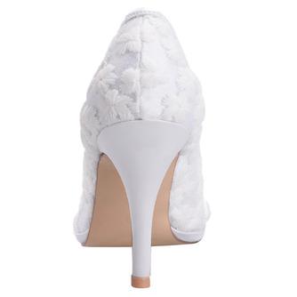 Frühlingsspitzeflacher Mund zeigte einzelne Schuhe gestickte weiße Hochzeitsschuhe der Blumenhohen absätze - Seite 4