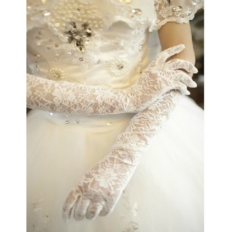 Schwarz Transluzent Spitze Spitze Formell Volle finger Hochzeit Handschuhe - Seite 2