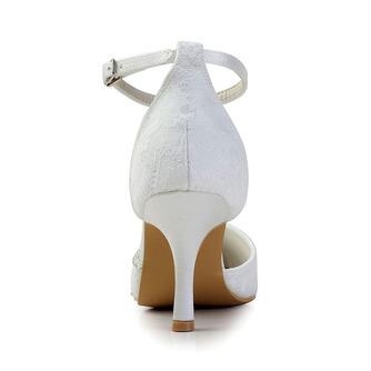 Weiße Spitze Hochzeitsschuhe Hochzeitsschuhe mit Strasssteinen Frauen Stiletto Strass Brautjungfernschuhe - Seite 4