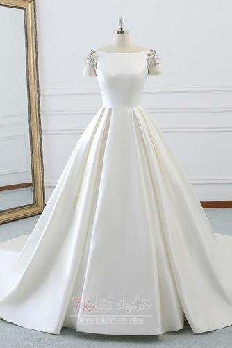 Rücken Schnürung Lange Birneförmig Natürliche Taille Drapierung Brautkleid - Seite 1