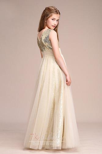 Tüll Juwel Ärmellos Elegant Reißverschluss Sommer Blumenmädchenkleid - Seite 4