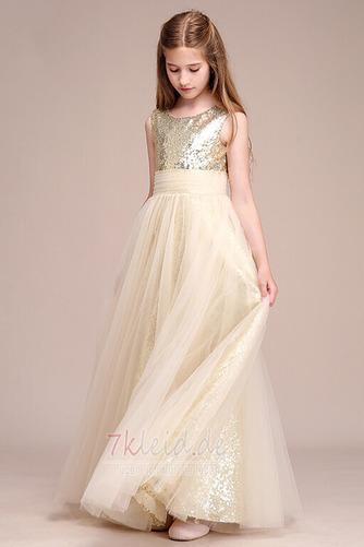 Tüll Juwel Ärmellos Elegant Reißverschluss Sommer Blumenmädchenkleid - Seite 1