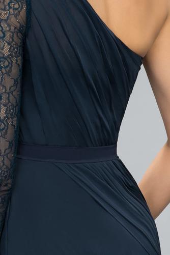 Asymmetrische Ärmel Spitze Formell Falte Mieder Mitte Rücken Abendkleid - Seite 4