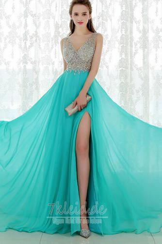 Formell Natürliche Taille V-Ausschnitt Mittelgröße Sommer Abendkleid - Seite 3