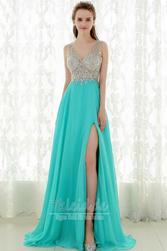 Formell Natürliche Taille V-Ausschnitt Mittelgröße Sommer Abendkleid - Seite 1