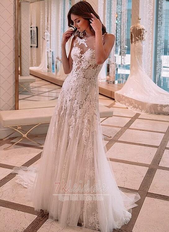 Spitze Brautkleider kommen in einer Vielzahl von Stilen